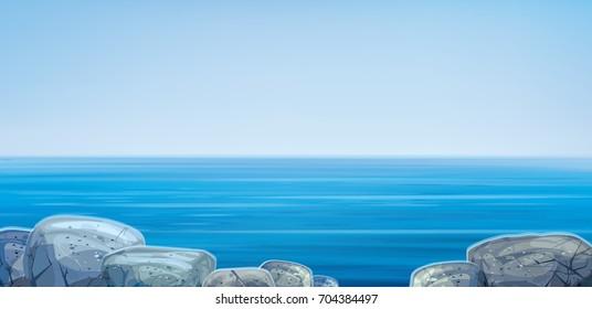 Vector  ocean with blue  sky and  stones beach.