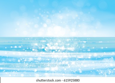 Vector  ocean with blue  sky and sunshine, blurred effect.