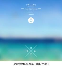 Vector ocean, blurred landscape, interface template. Corporate website design.  Minimalistic web multifunctional media backdrop. Blurry.Unfocused. Ocean. Sunset. Background