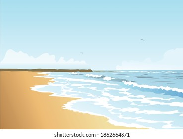 Vector ocean landscape with waves that makes you feel freedom and calmness