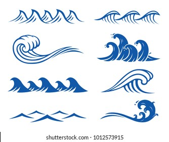 Vector Ocean waves  illustrations.  Isolated background.