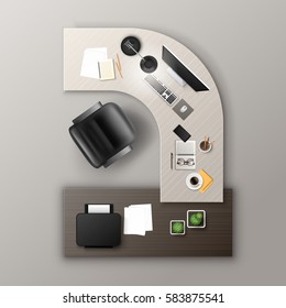 Vector Ocher Wooden Working Table with Office Supplies Stuff and Digital Devices: Keyboard, Monitor Screen, Lamp, Cup of Coffee, Pen, Pencil, Notepad, Plant Cactus, Stickers, Chair Top View. Workplace