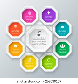 Vector octagon elements for infographic. Template for diagram, graph, presentation and chart. Business concept with 9 options, parts, steps or processes. Abstract background.