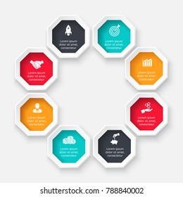 Vector octagon for infographic. Template for cycle diagram, graph, presentation and chart. Business concept with 8 options, parts, steps or processes. Abstract background.