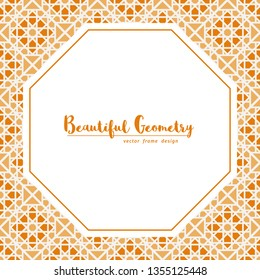 Vector octagonal frame with asian mosaic ornament. Geometric ornamental mosaic. Arabic design for page decoration.