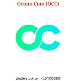 Vector Octoin Coin (OCC) digital cryptocurrency logo. Octoin Coin (OCC) icon. Vector illustration isolated on white background.