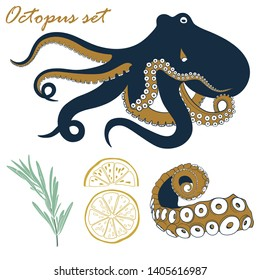 Vector octopus seafood set. Hand drawn octopus, tentacle, lemon and rosemary illustration.