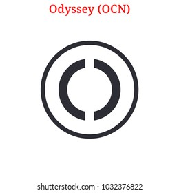Vector Odyssey (OCN) digital cryptocurrency logo. Odyssey (OCN) icon. Vector illustration isolated on white background.