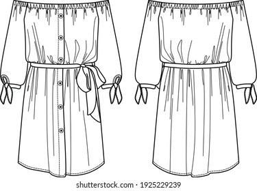 Vector off shoulder dress fashion CAD, woman shirt dress with belt and bow detail technical drawing, template, flat, sketch