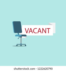 Vector of office chair and a sign vacant. International business hiring and recruiting concept.