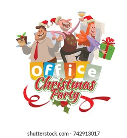 """Vector office emblem """"Christmas party"""" with cartoon image of two men and woman in a red Santa's hats with gift, cake and champagne in hands on a white background. Corporate party, Christmas, New Year."""