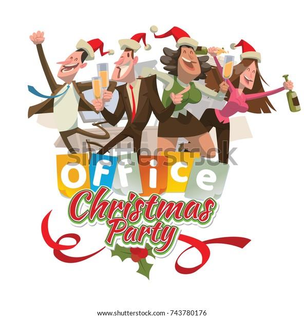 Vector Office Emblem Christmas Party Cartoon Stock Vector Royalty Free 743780176