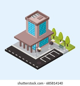 Vector office isometric buildings isolated