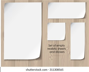 vector office set of empty white sheets with folded corners. Template collection