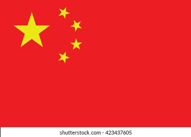 Vector of official flag of China country, chinese flag illustration. China icon flag. China vector flag. National flag of China in vector.