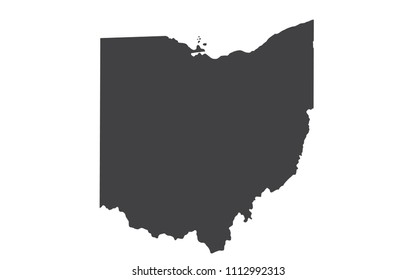 Vector Ohio Map silhouette. Isolated vector Illustration. Black on White background.