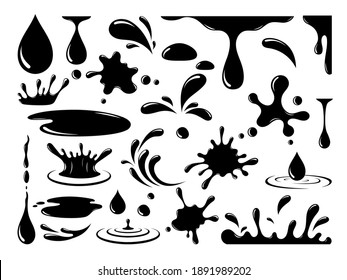Vector oil drops. Dripping machine oil, liquid, paint, splash ink, stain, spill, current drop and splash isolated on white background. Silhouette black drop icons set. Flat design.
