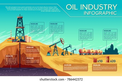 Vector oil industry business presentation infographics. Extraction, transportation of petroleum gasoline diesel, distribution. Illustration with derrick pump rig, rail transported fuel tanks
