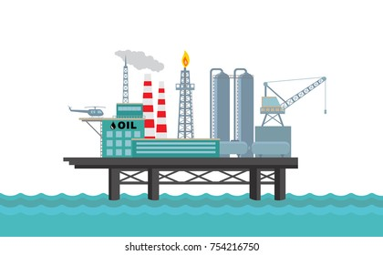 Vector oil platform on white background.