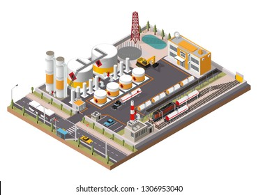 Vector oil refinery isometric