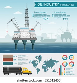 Vector Oil rig industry processing petrol and transportation infographics set of production elements.