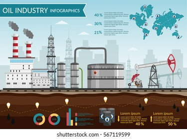 Vector Oil rig industry of processing petrol and transportation for infographics set production elements.