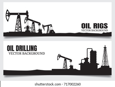 Vector Oil rig industry silhouettes background.