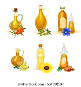 Vector oil set.Different kinds of vegetable oil. Bottles and containers with olive, sunflower, sea-buckthorn, linseed, rapeseed, nut butter. Icons isolated on the white background. Eco-product.