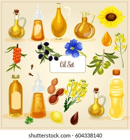 Vector oil set.Different kinds of vegetable oil. Bottles and containers with olive, sunflower, sea-buckthorn, linseed, rapeseed, nut butter.