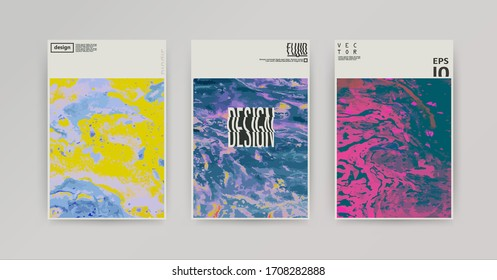 Vector oil texture template set, cover design with wave logo. Minimalistic composition. Marble effect.