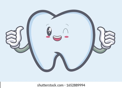 vector okay tooth character emoticon cartoon style. Logo, Icon, Mascot Illustration