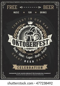 Vector Oktoberfest beer festival celebration template of retro poster or invitation flyer on vintage blackboard texture