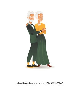 Vector old aged glamour couple in retro style party dress holding hands in dance. Elegant elderly woman and man at celebration. Stylish senior couple nightlife. Isolated illustration.