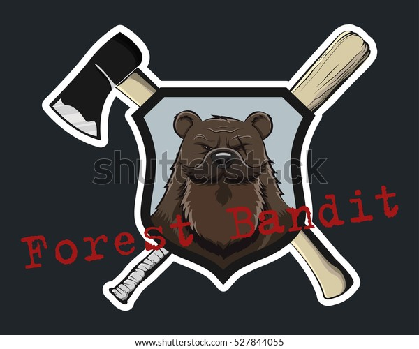 Vector Old Bear Logo Heraldic Shield Stock Vector (Royalty
