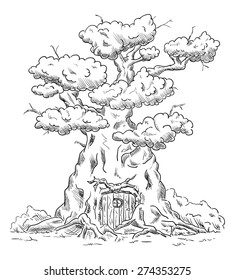 vector - Old big tree house with roots - isolated on background