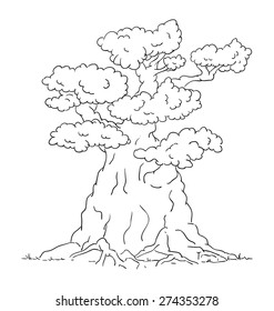 vector - Old big tree with roots - isolated on background