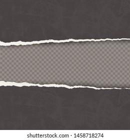 Vector old black torn paper edges on transparent background.