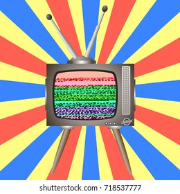 Vector Old Broken Television on Colorful Background. Glitch on Retro TV Screen