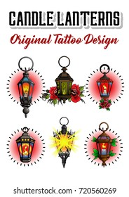Vector Old Candle Lanterns Tattoo Design