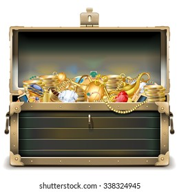 Vector Old Chest with Gold