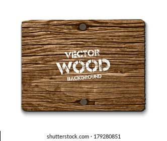 Vector old dry brown wood rectangular banner with two rusty nails
