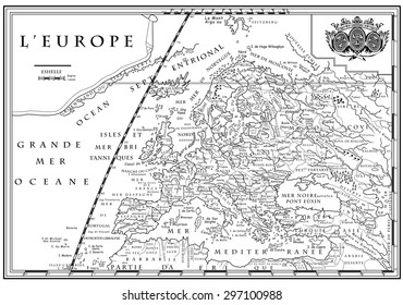 Vector of old European map with coordinate system, XVIII century