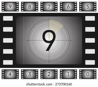 Vector old film countdown with scratches and vorse for your animation.