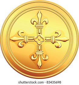 vector old French gold coin ECU with the image of a flowering crowns Cross