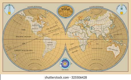 Vector of old globe, map of world with new discoveries of 1799