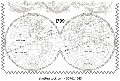 Vector old globe, map of world with new discoveries and decoration with nymphs