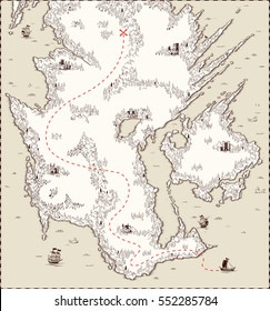 Vector old map, pirate treasure