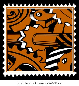 vector old mechanism on postage stamps