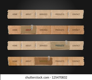 Vector old paper navigation bars collection