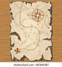 Vector old parchament. Treasure map.